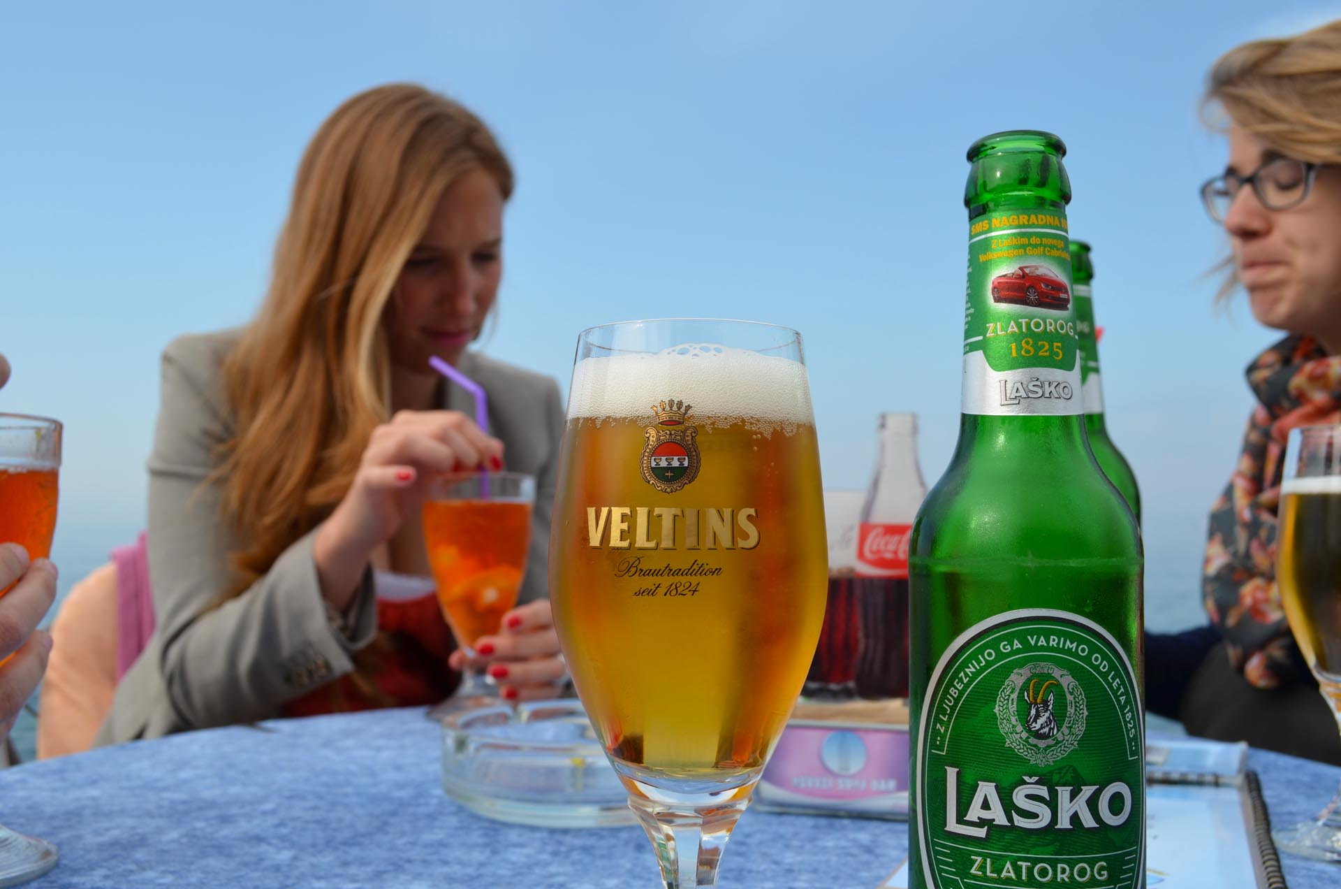 Refreshing drink on the Slovenian coast